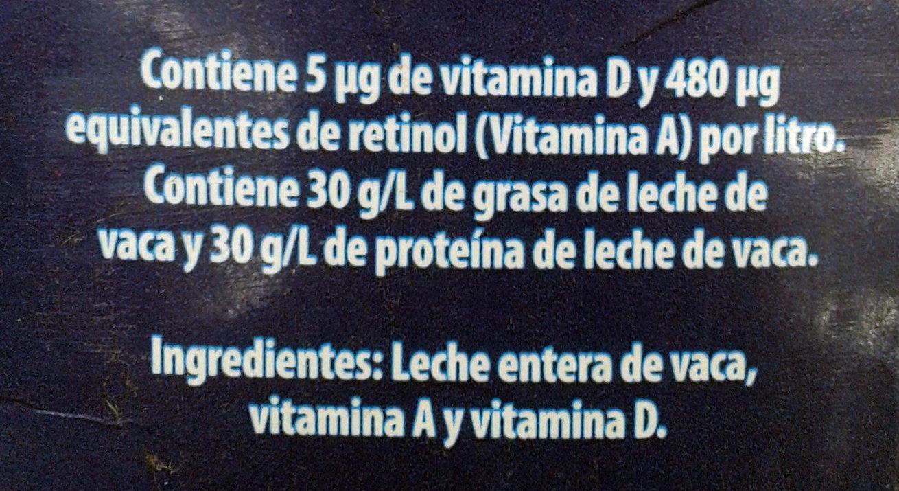 Leche entera - Ingrédients