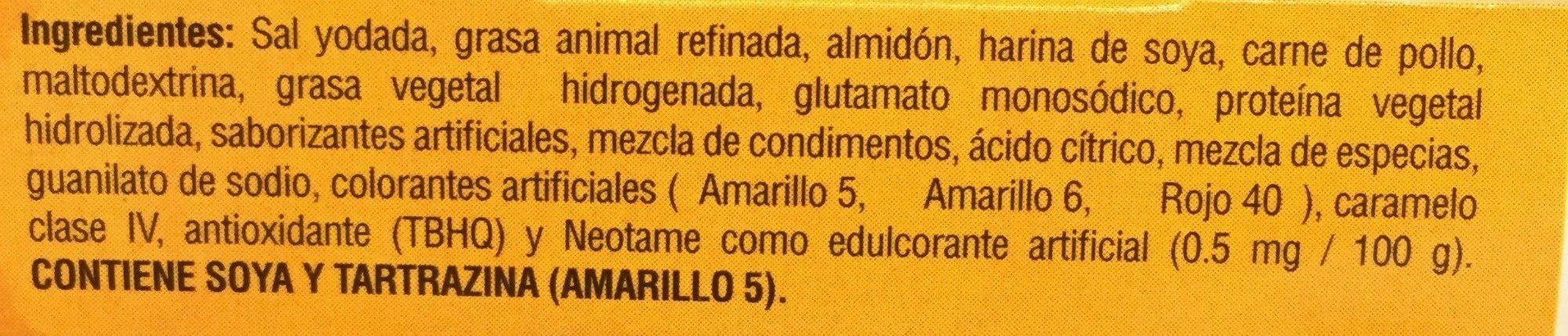 CALDO DE POLLO - Ingredients
