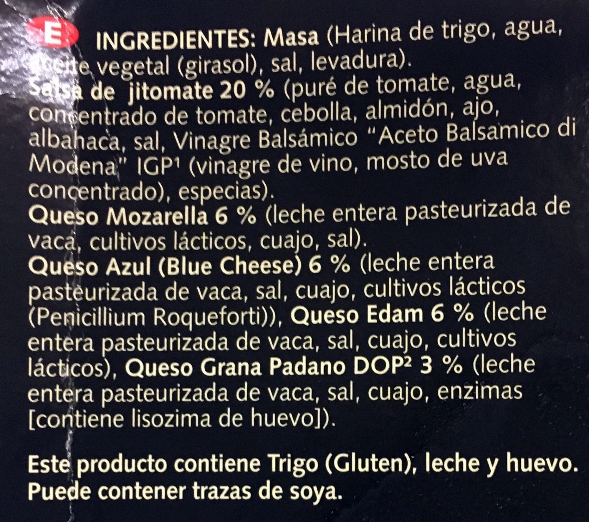 Pizza de 4 Quesos - Ingredients