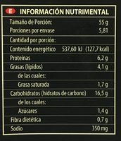 Pizza de 4 Quesos - Nutrition facts