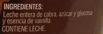 Cajeta sabor Vainilla - Ingrédients