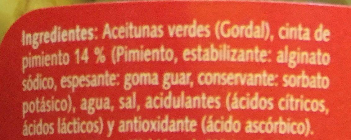 Aceitunas Gordal Rellenas de Pimiento - Ingredients - es