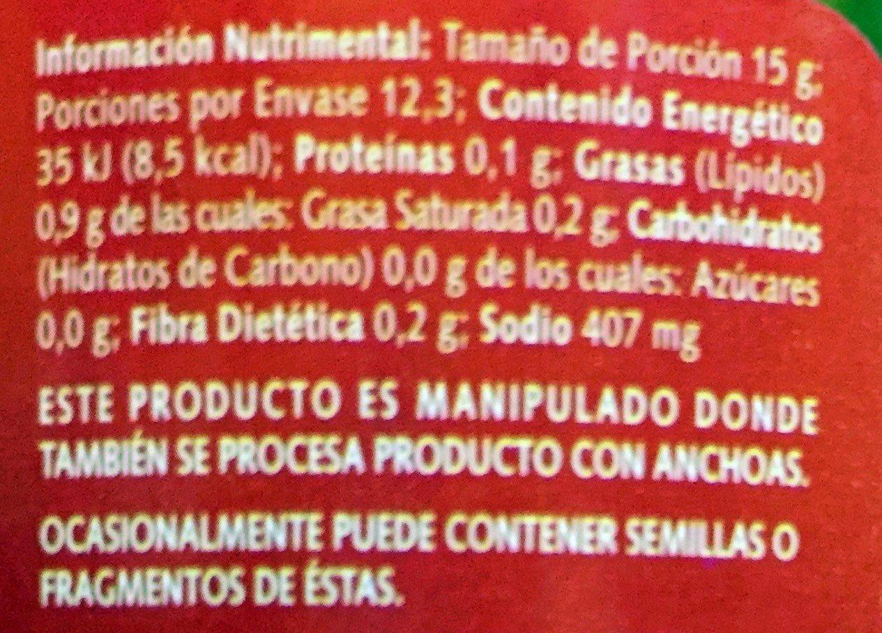 Aceitunas Gordal Rellenas de Pimiento - Nutrition facts - es