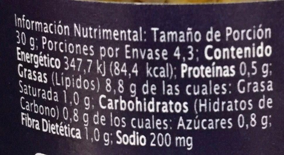 BRUSCHETTA DE ALCACHOFA - Informations nutritionnelles - es