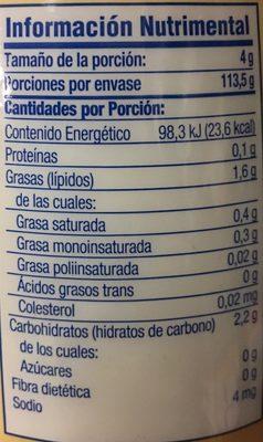 SUSTITUTO DE CREMA - Voedingswaarden - es