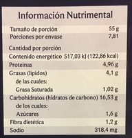 Pizza a la Parmesana - Nutrition facts