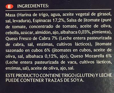 Pizza con Espinaca y Queso de cabra - Ingrédients