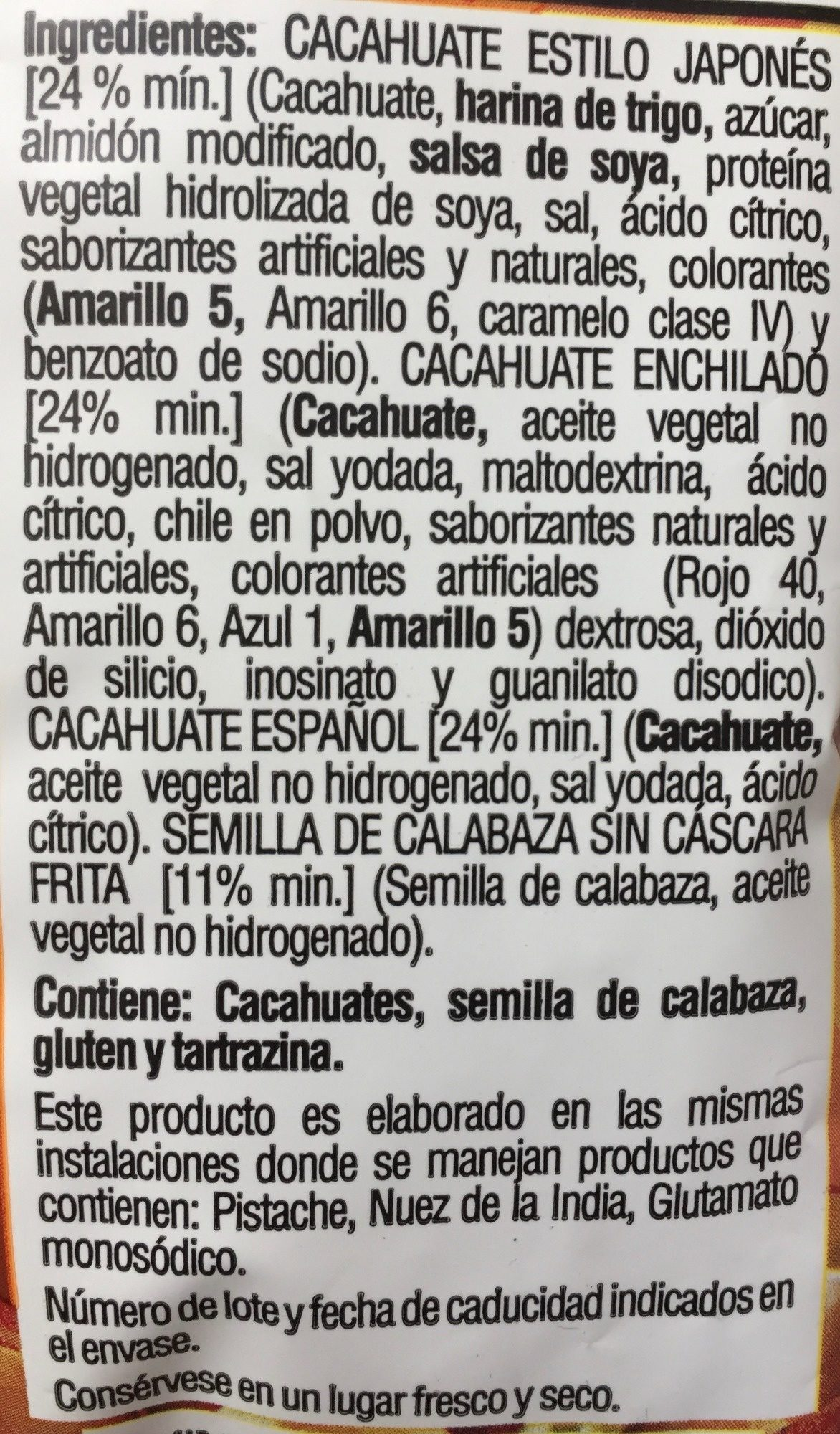 Botana surtida crujiente - Ingredients - es