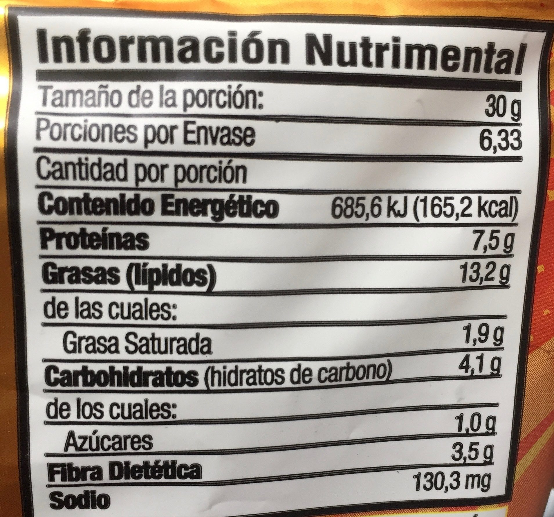 Botana surtida crujiente - Nutrition facts - es