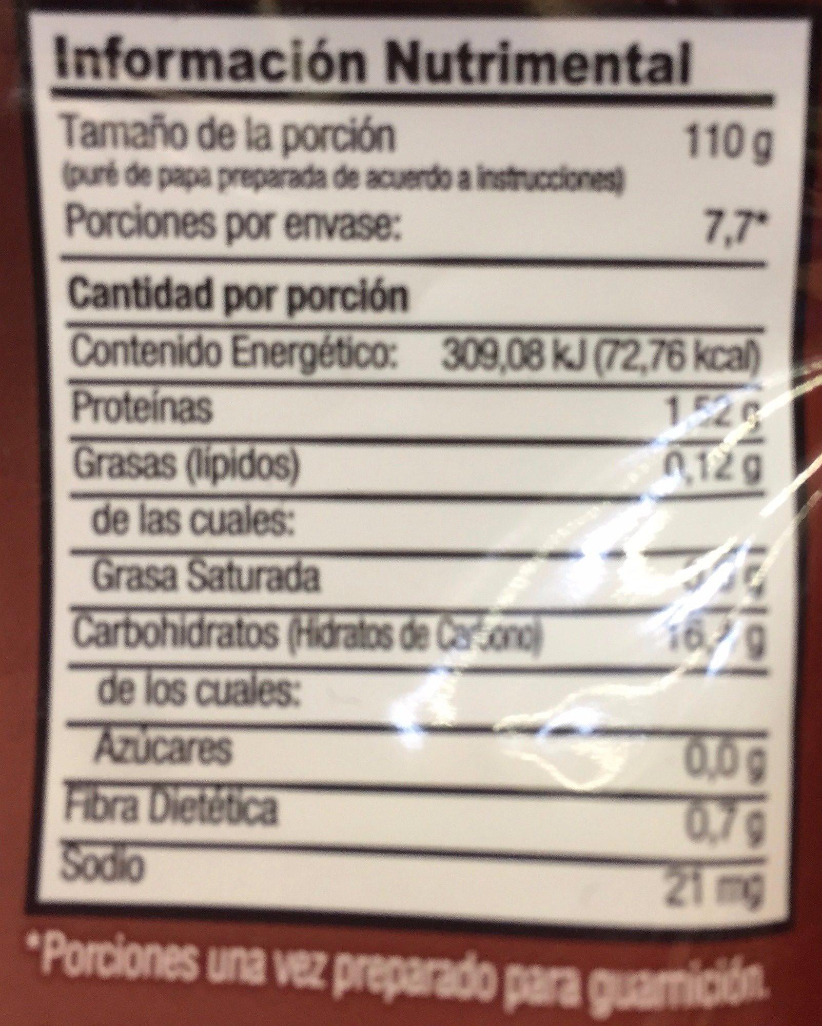 PURE DE PAPA INSTANTANEO - Voedingswaarden - es
