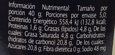 Crema untable con Trozos de Coco - Nutrition facts - es