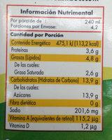 Producto lácteo Aurrera - Voedingswaarden
