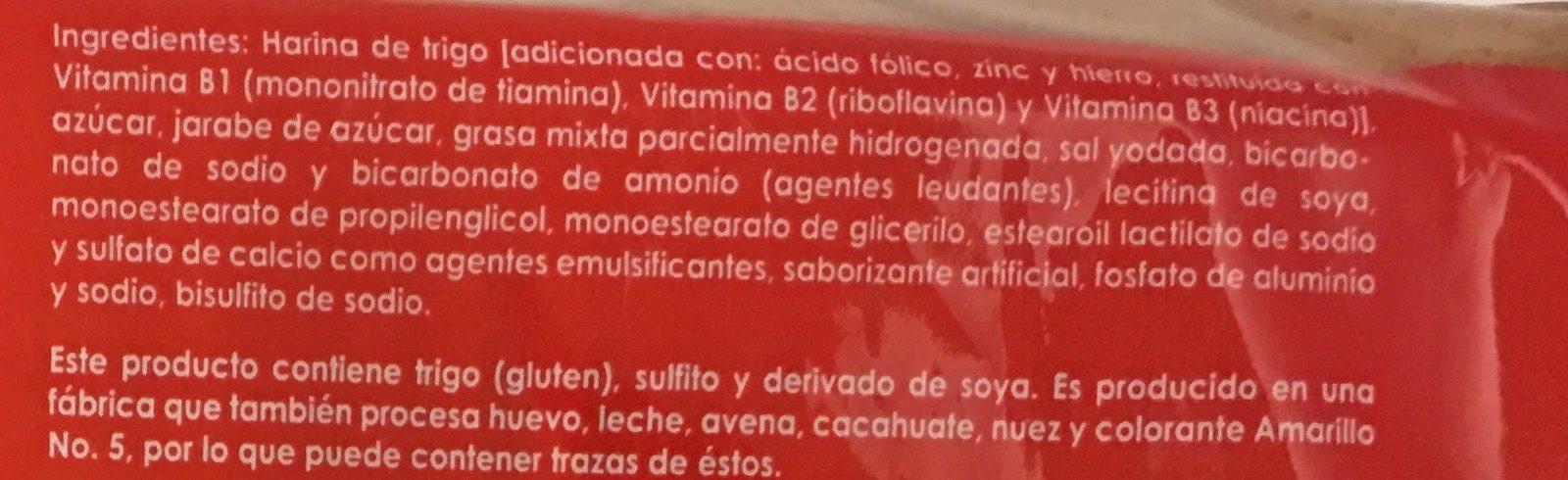 Galletas marías - Ingrédients - es