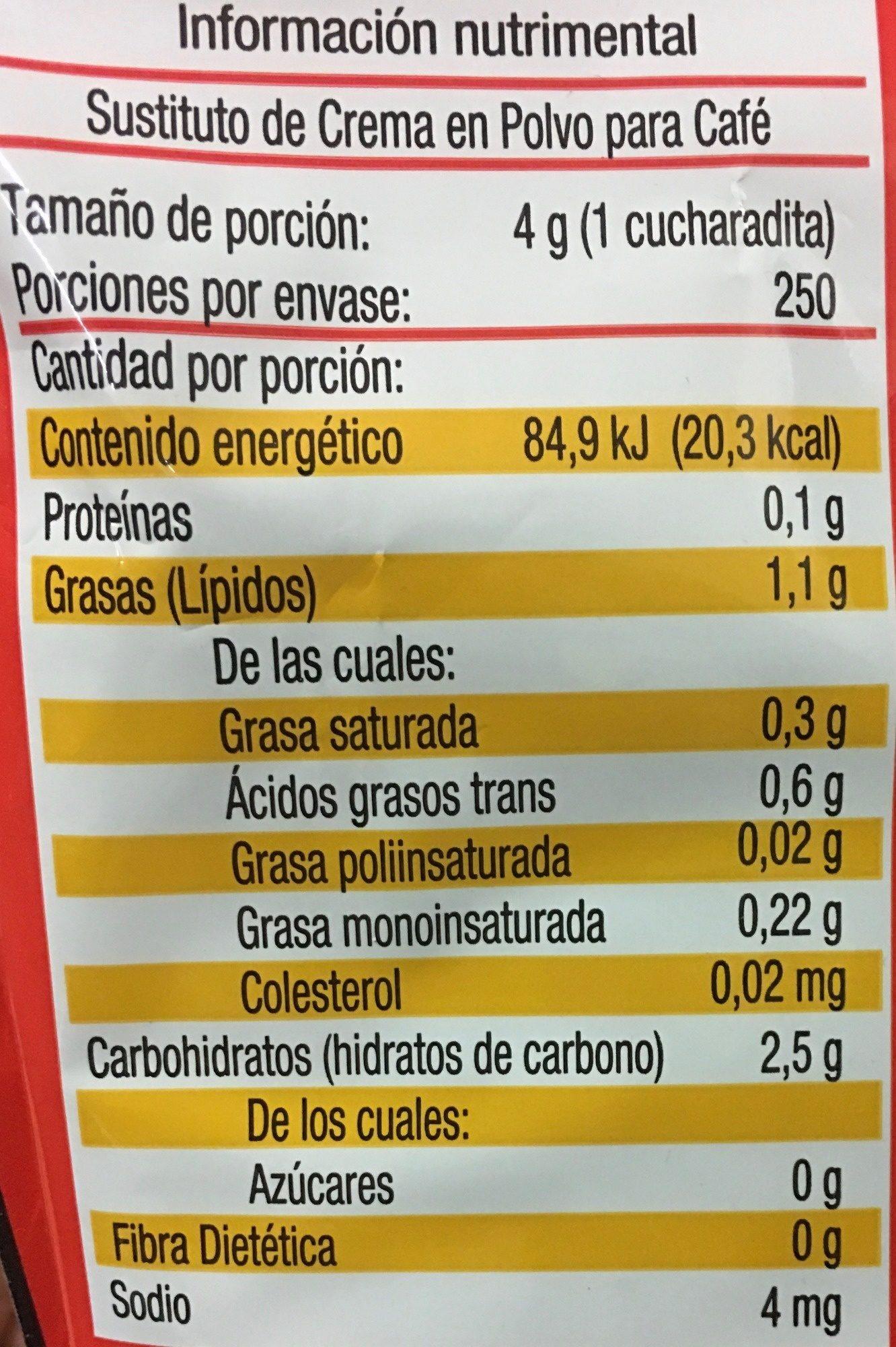 Sustituto de crema - Voedingswaarden