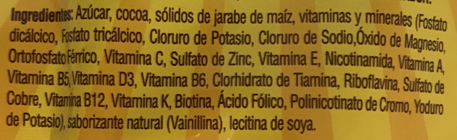 Chocolate en polvo - Ingredientes - es