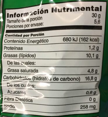 Jalapeño papas - Nutrition facts
