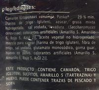 Camarones empanizados, Extra Especial - Ingrediënten - es