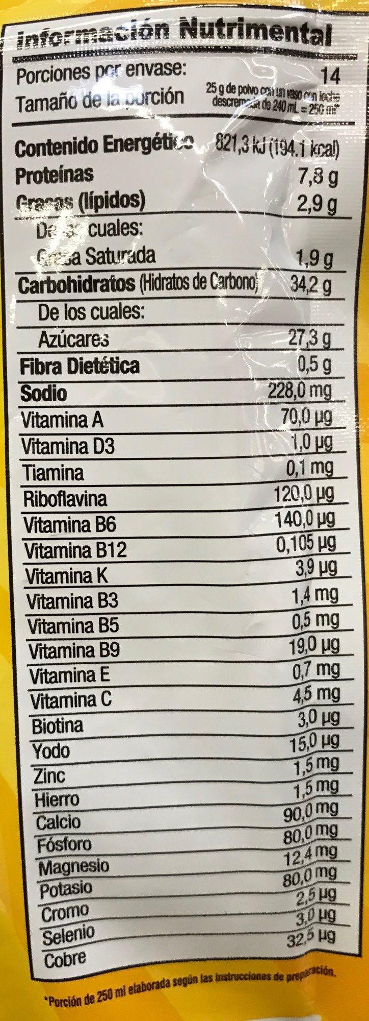 Chocolate en polvo - Informations nutritionnelles - es