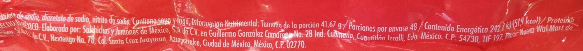 Aurrera Salchicha de Pavo - Nutrition facts