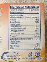 Waffles sabor canela - Informació nutricional - es