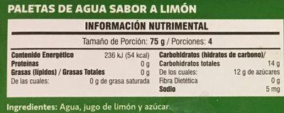 Paletas  de Limón Manhattan - Informations nutritionnelles - es