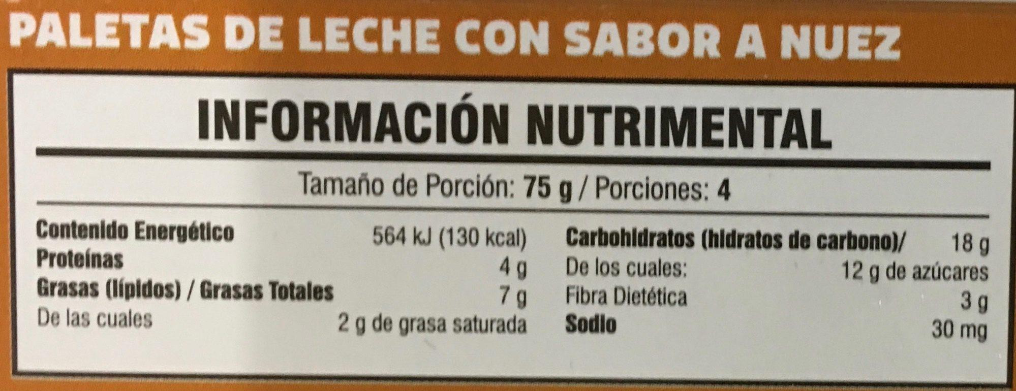 Paletas sabor nuez endulzadas con stevia - Voedingswaarden - es