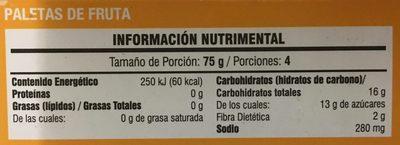 Paleta helada de mango con tajin - Informations nutritionnelles