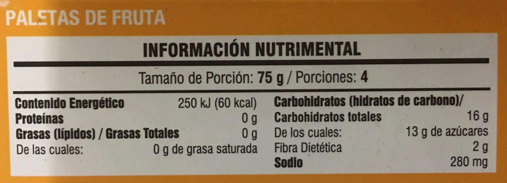 Paleta helada de mango con tajin - Informations nutritionnelles - es