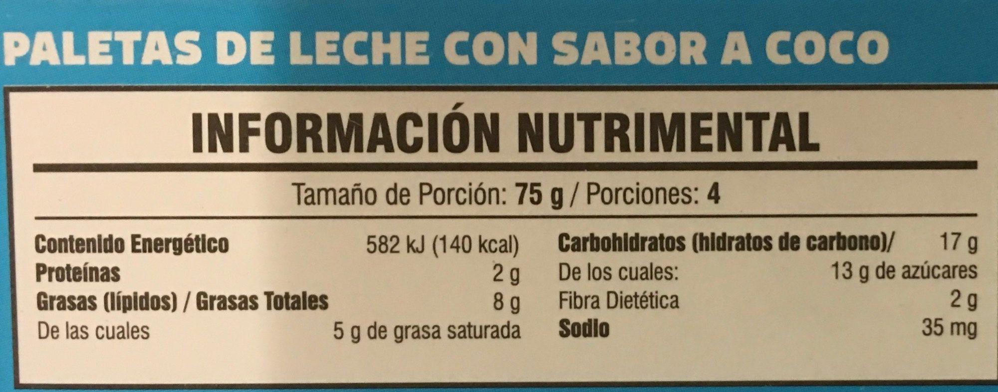 Paletas sabor coco endulzadas con stevia - Informations nutritionnelles - es