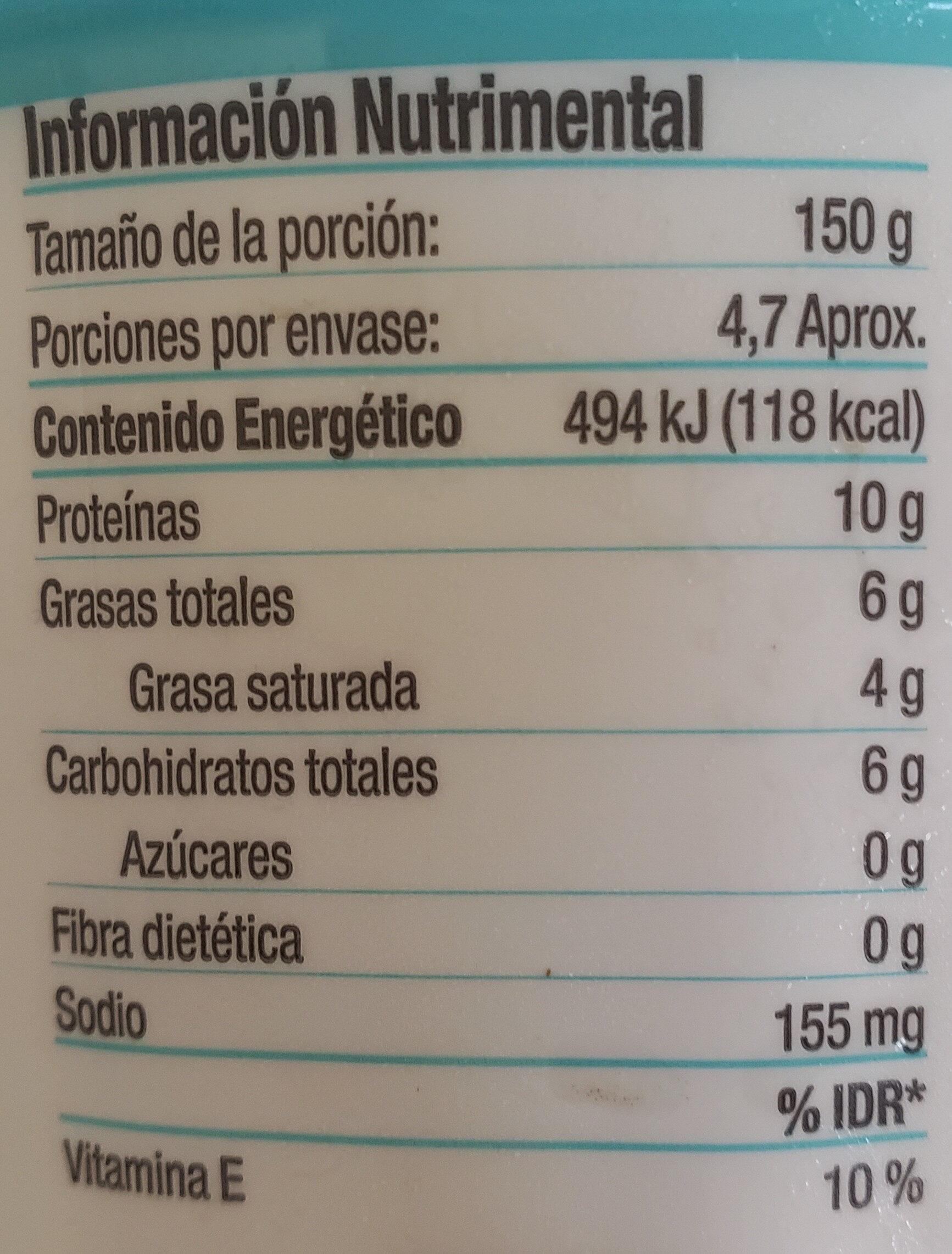 Yogur griego - Información nutricional - en