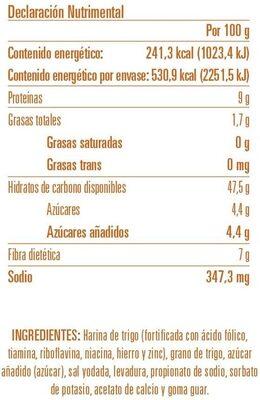 Pan pita de trigo integral - Ingrédients