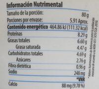 Jocoque  Seco Natural Libanius - Nutrition facts