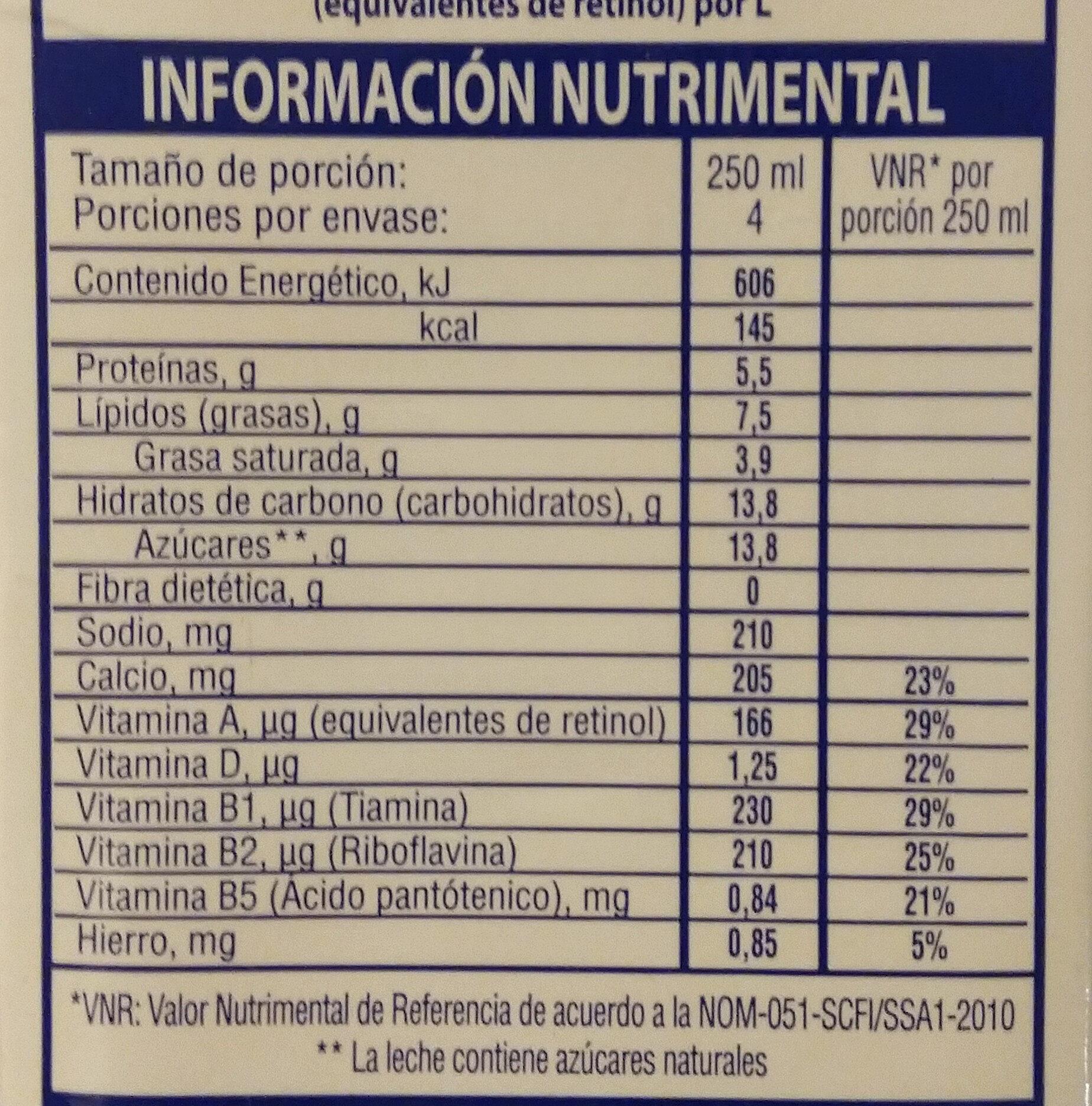 Mileche - Informations nutritionnelles - es