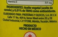 Aceite de canola Vita - Ingrediënten - es