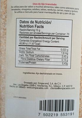ajo granulado - Ingredienti - es