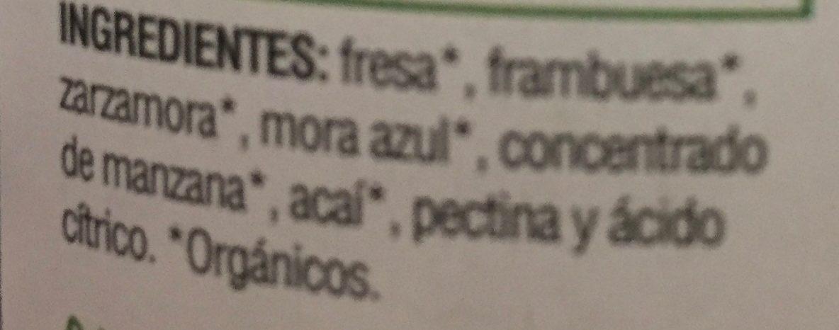 MERMELADA ORGANICA SIN AZUCAR - Ingredients