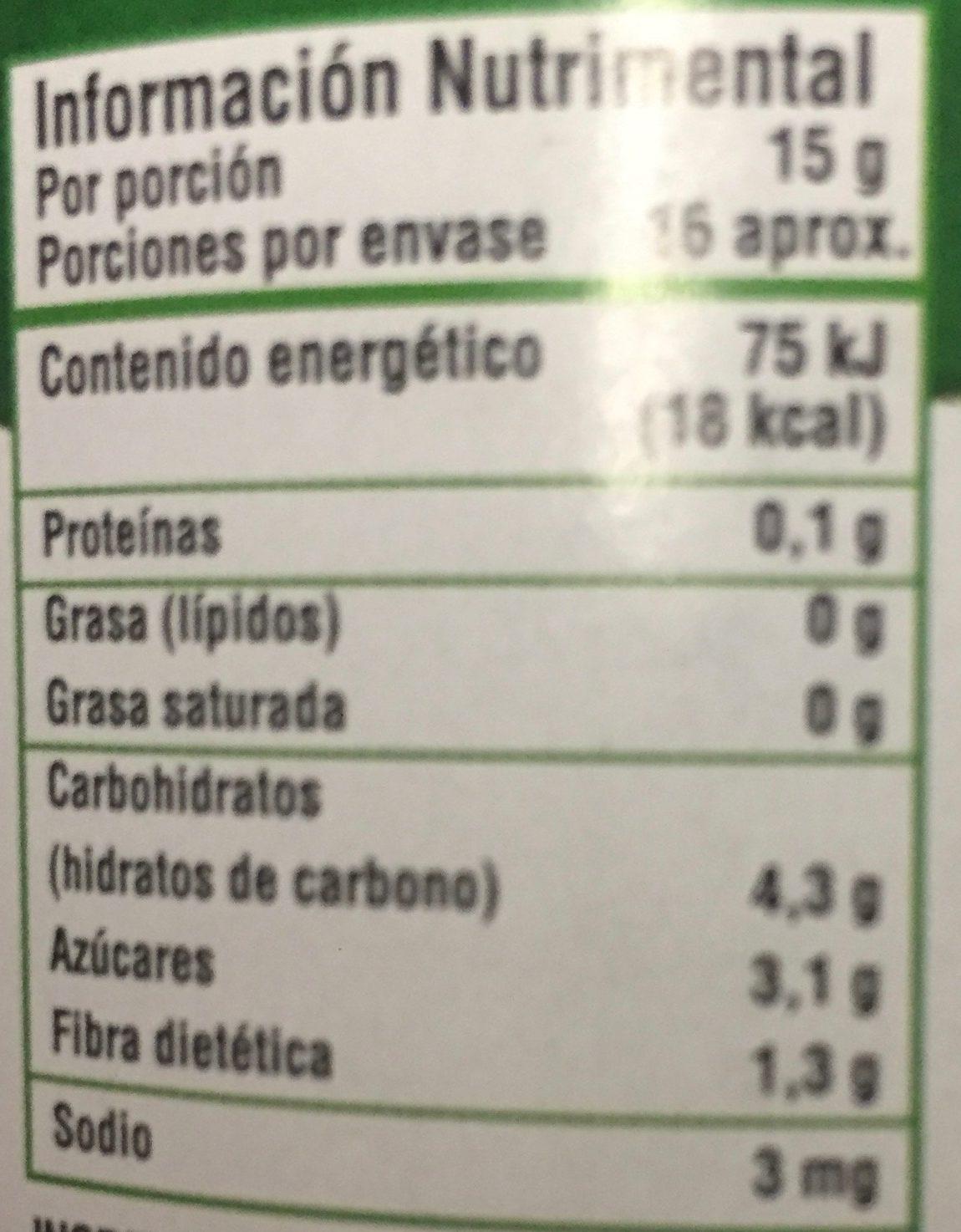 MERMELADA ORGANICA SIN AZUCAR - Nutrition facts
