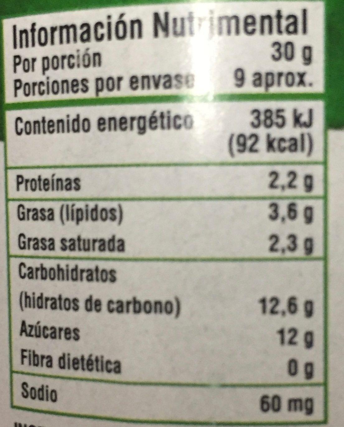 CAJETA ORGANICA - Nutrition facts - es