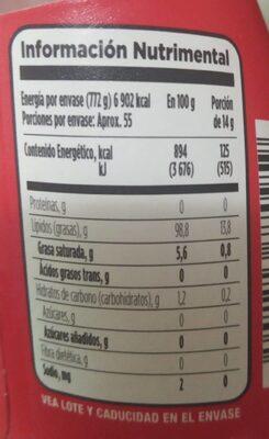 Aceite de Canola - Informations nutritionnelles - es