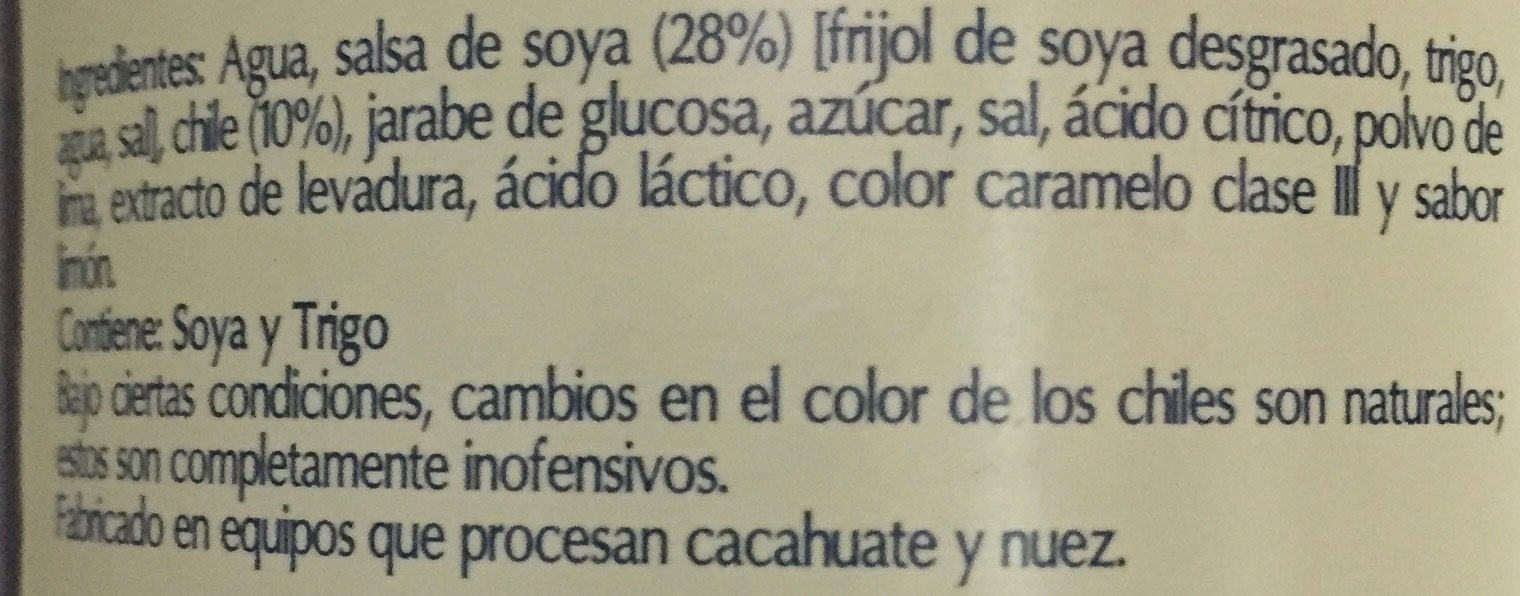 SALSA SOYA CON CHILE - Ingredients