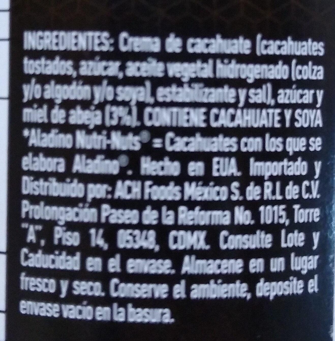 crema de cacahuate con miel de abeja - Ingredientes - es