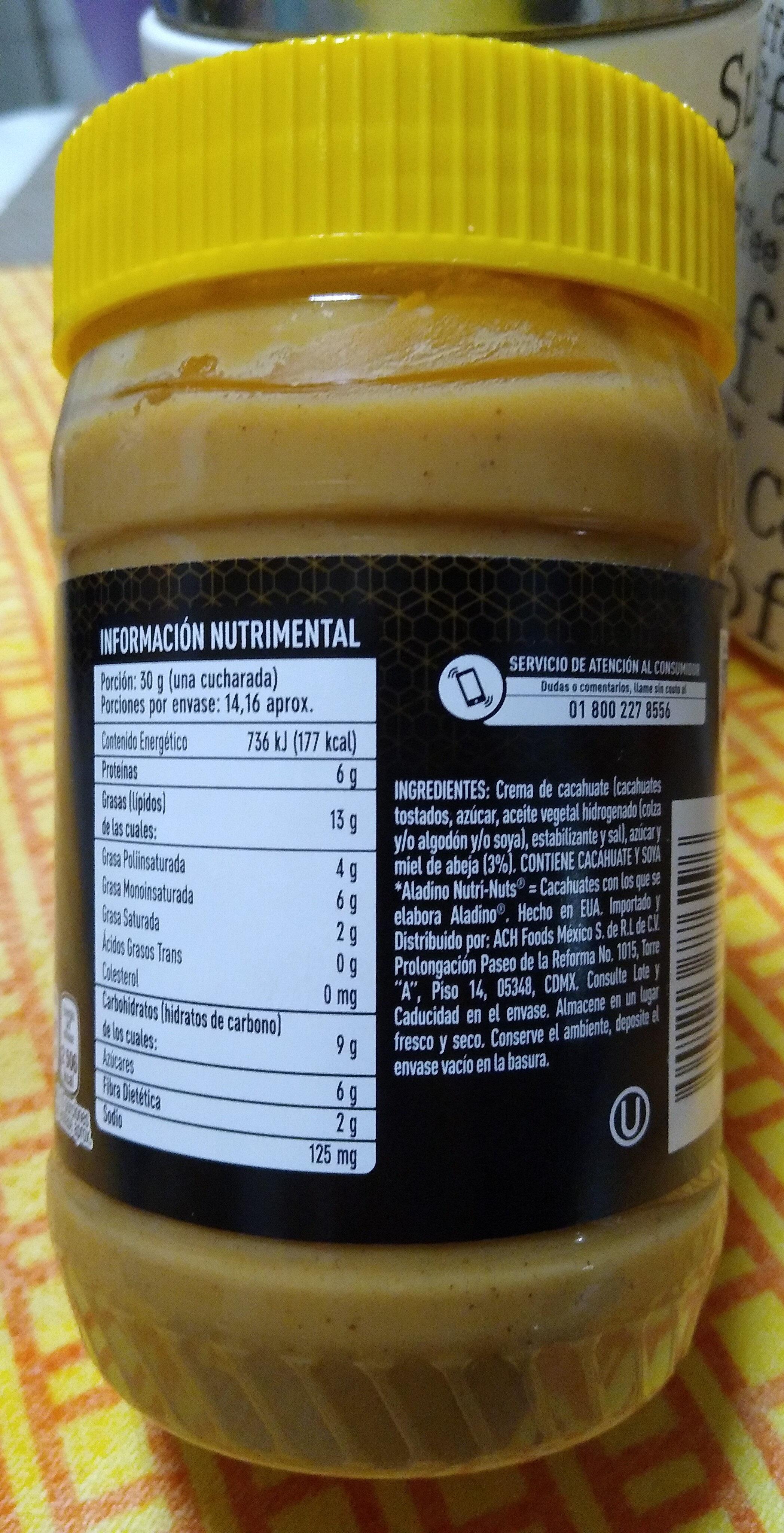 crema de cacahuate con miel de abeja - Información nutricional - es