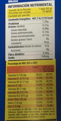 Glacs - Nutrition facts