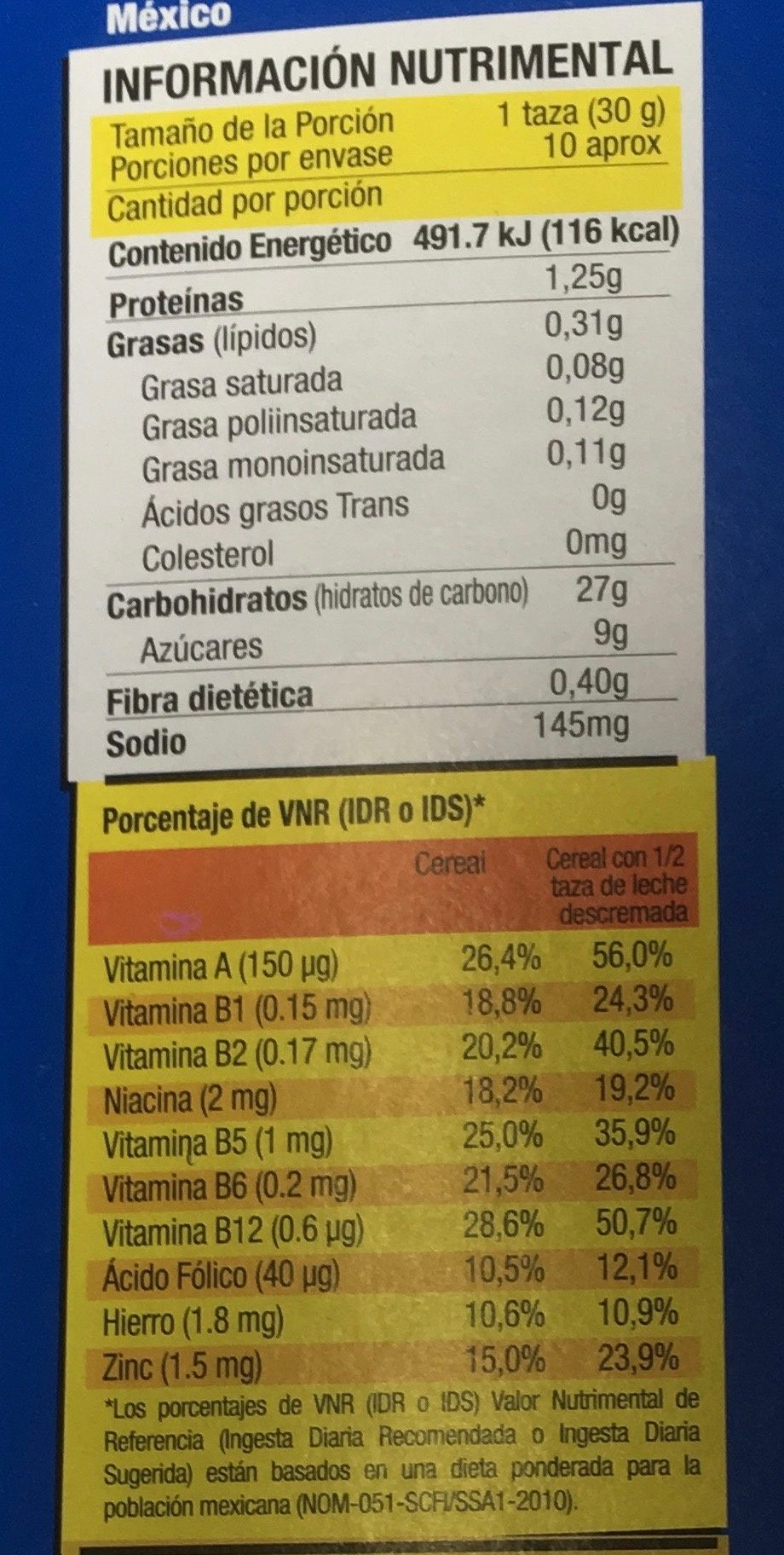 Glacs - Nutrition facts - es