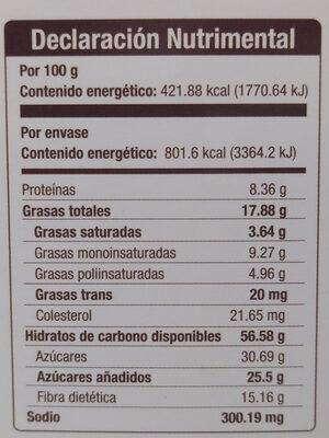 TAIFELD'S BROWNIES LIGHT - Voedingswaarden - es