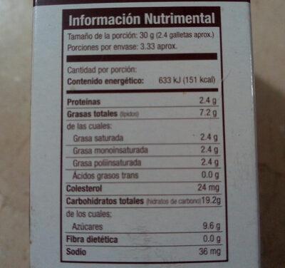 galletas integrales con chispas de chocolate - Información nutricional - es