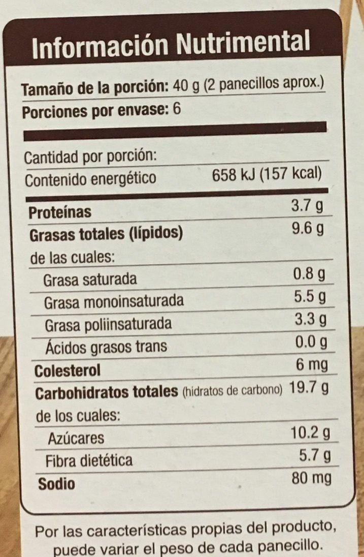 PANECILLOS DE SALVADO TAIFELD'S - Nutrition facts