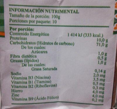 harina de trigo Sol de Oro Extrafina - Nutrition facts - es