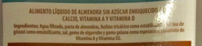 Alimento líquido de almendra sin azúcar - Ingrediënten