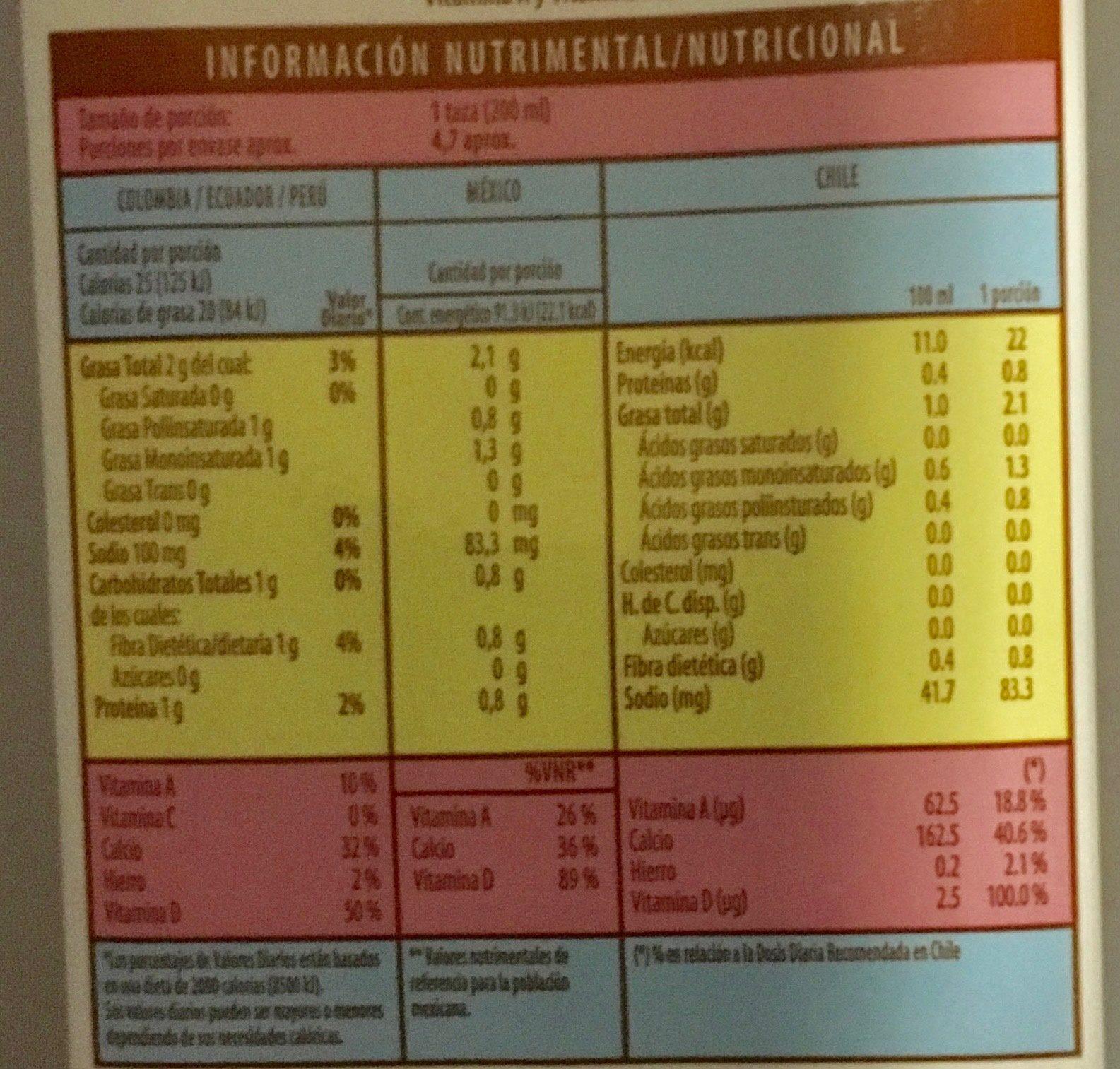 Alimento líquido de almendra sin azúcar - Voedingswaarden